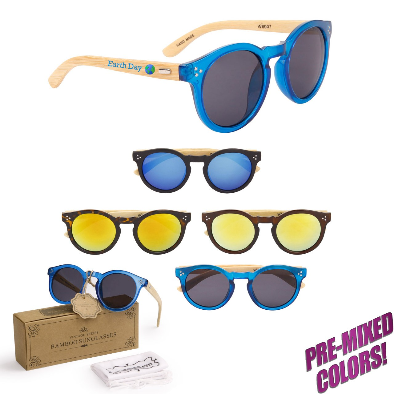 Imprinted Earth Wood Sunglasses PW8007