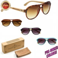 Branded Wooden Frame Sunglasses PW8002